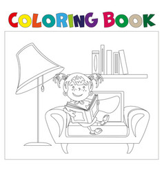 coloring book girl with book vector image