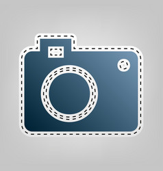 Digital camera sign  blue icon with vector