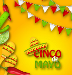 Holiday celebration banner for cinco de mayo with vector
