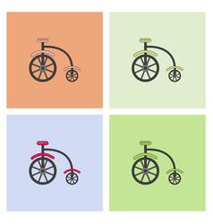 Antique highwheel bike 1885 icons vector