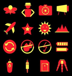 Camera shooting color icons on black background vector