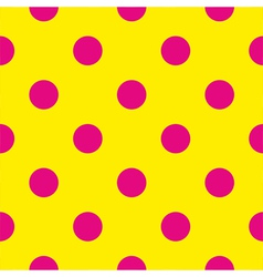 Pink polka dots on yellow background tile pattern vector