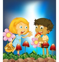 Children and mushroom vector image