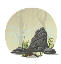 Stones grass and roots for computer game location vector