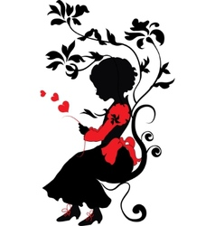 Silhouette little girl with love letter vector
