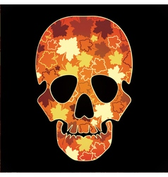 Skull with colorful leaves vector
