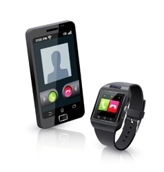 Smart watch with phone realistic composition vector