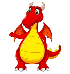 Red dragon cartoon posing vector