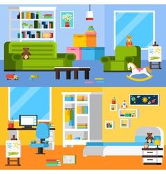 Baby Room Interiors Flat Horizontal Banners vector image