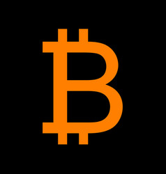 Bitcoin sign orange icon on black background old vector