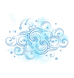 Blue dream cloud and shooting stars boho doodle vector