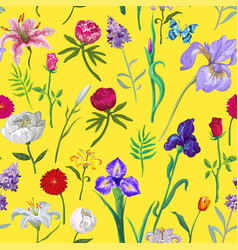 Bright seamless floral pattern on yellow vector