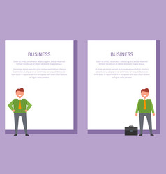 business posters set cheerful businessmen vector image vector image