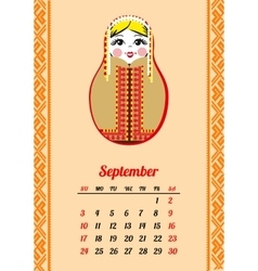 Calendar with nested dolls 2017 september vector