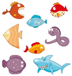 Cartoon fishes doodle icon set vector image vector image