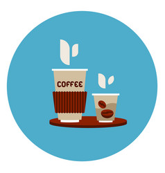coffee to go cups icon on blue round background vector image