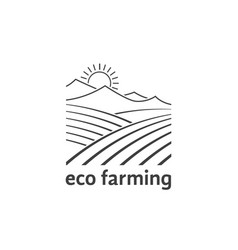 Eco farming logo with linear fields vector