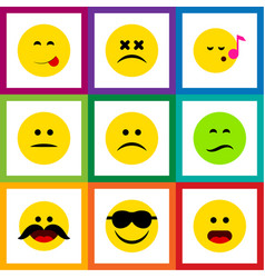 Flat icon expression set of descant wonder vector