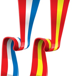 france and spain ribbon flag vector image