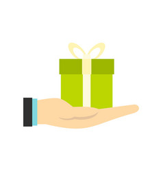 gift box in hand icon flat style vector image