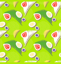 Green seamless pattern with berries and palm leave vector