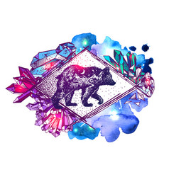 Hand drawn bear with double vector