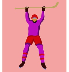 Hockey player with a hockey stick and skates vector