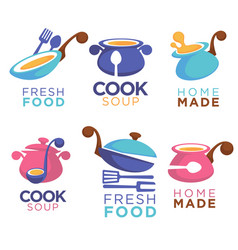 home made food collection of logo symbols and vector image