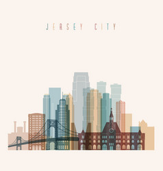 jersey city state new jersey skyline detailed silh vector image