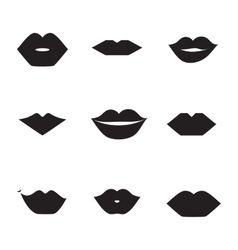 Lips icons shape set vector image