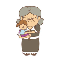 Little girl and grandmother together family vector