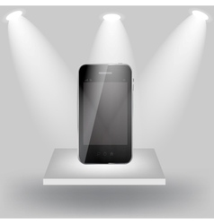 Mobile phone on white shelve on light grey vector image vector image