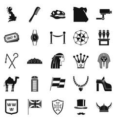 Pharaoh icons set simple style vector