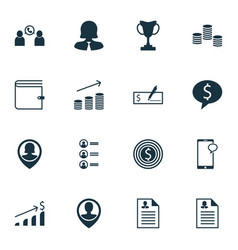 Set of 16 hr icons includes business deal vector