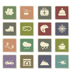 Skiing icon set vector