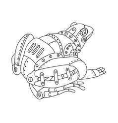 Steam punk frog coloring book vector
