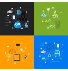 Technology sticker infographic vector