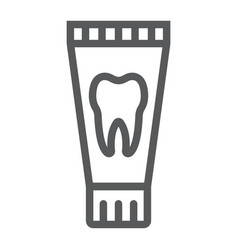 toothpaste tube line icon stomatology and dental vector image