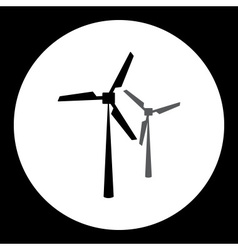 Two black wind power plant isolated black icon vector