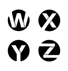W X Y Z White stripe in a black circle vector image
