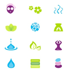wellness spa and nature icons vector image vector image