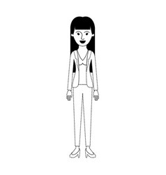 Woman full body with blouse and jacket and pants vector