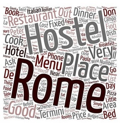 Rome don t miss a dinner text background wordcloud vector