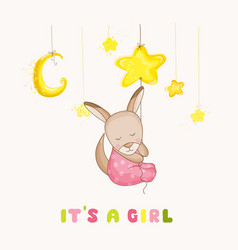 Baby girl kangaroo sleeping on a star baby shower vector