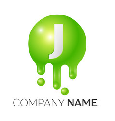 j letter splash green dots and bubbles letter vector image