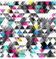 grunge triangles seamless pattern vector image