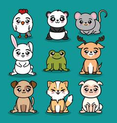 set of cute animal vector image