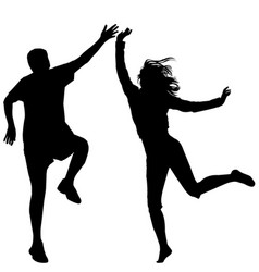 Man and woman jumping vector