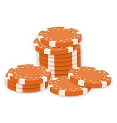 Orange poker chips vector image