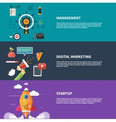 Management digital marketing srartup planning vector